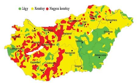 vízkeménység térkép magyarország Magyarország vízkeménységi terképe   OlajShop vízkeménység térkép magyarország