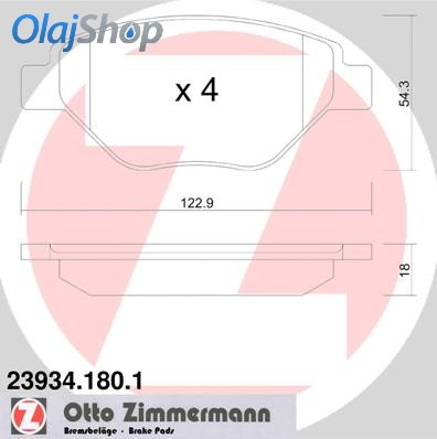ZIMMERMANN fékbetét készlet, tárcsafék 23934.180.1