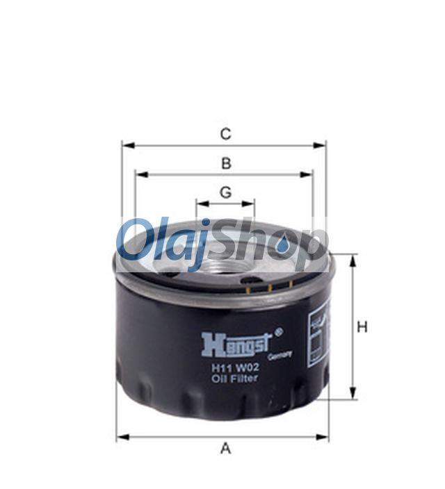 Hengst H11W02 olajszűrő, H11W02